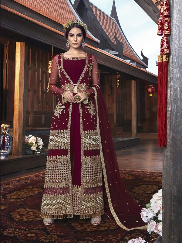 Soft Premium Net Wedding wear Anarkali Gown in Maroon with Embroidery & Stone work