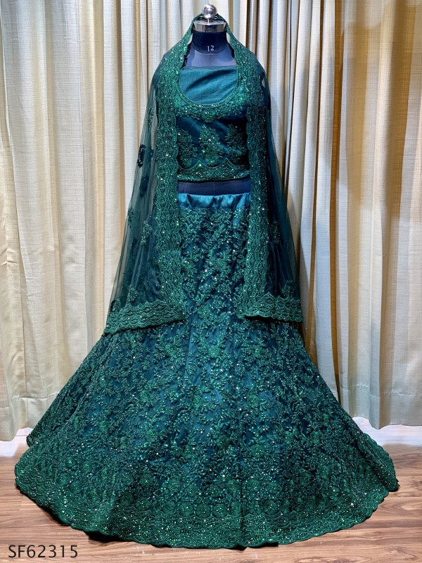 Soft Premium Net  Party Wear Lehenga In Dark Green With Embroidery Work
