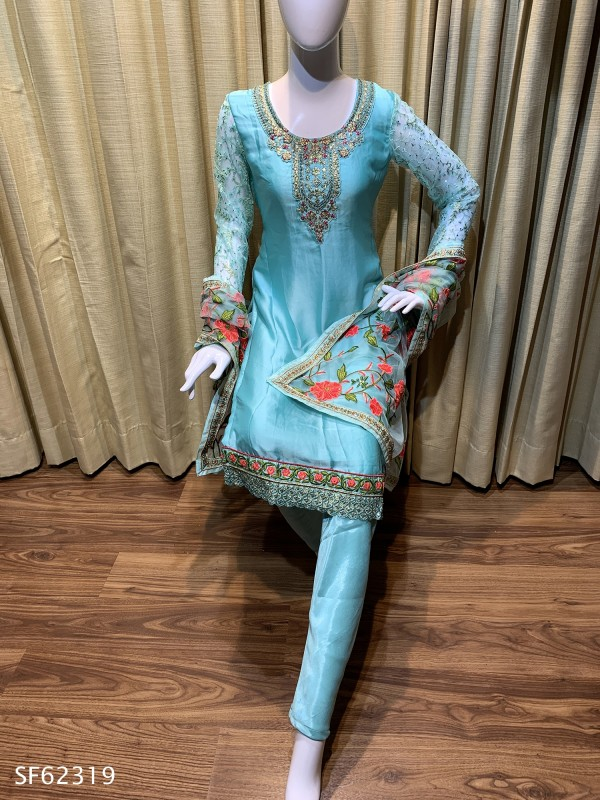 Satin Georgette Party Wear Salwar Kameez In Sea Blue With Embroidered & Stone Work