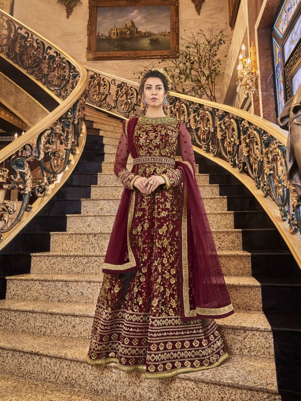 Soft Premium Net Wedding wear Gown in Maroon with Embroidery & Stone work