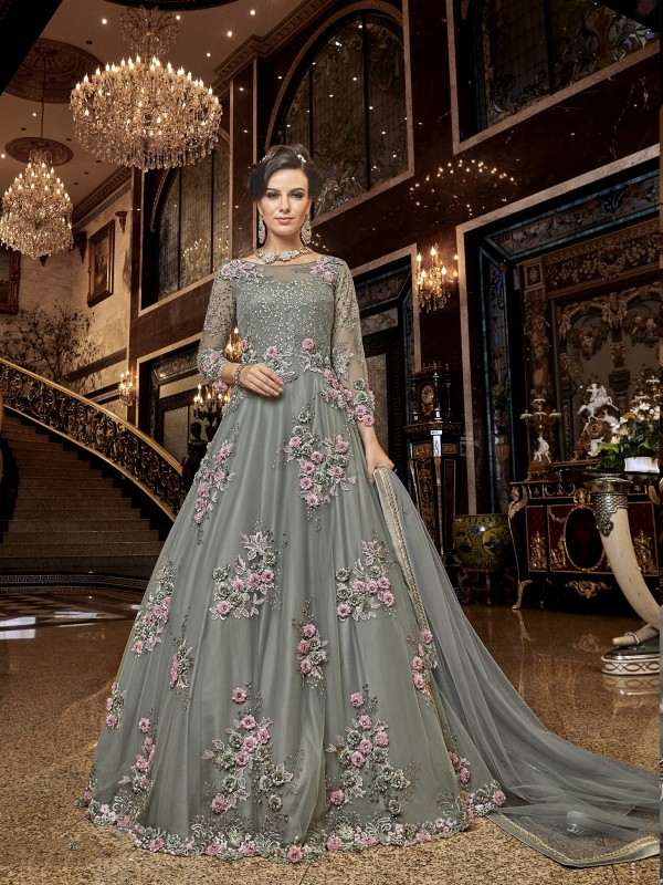 Soft Premium Net Wedding wear Gown in Light Grey with Embroidery & Stone work