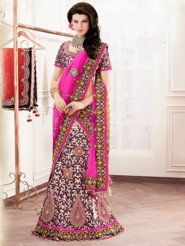 Pure Satin Silk Party Wear Lehenga In Pink Color With Embroidery Work & Stone Work