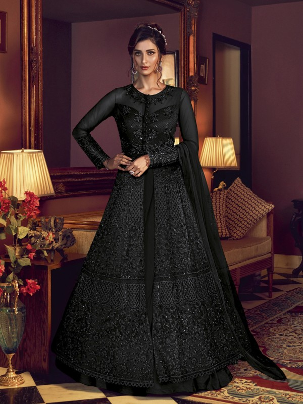 Soft Premium Net Wedding wear Gown in Black Color with Embroidery