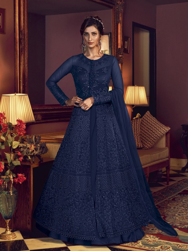 Soft Premium Net Wedding wear Gown in Royal Blue Color with Embroidery