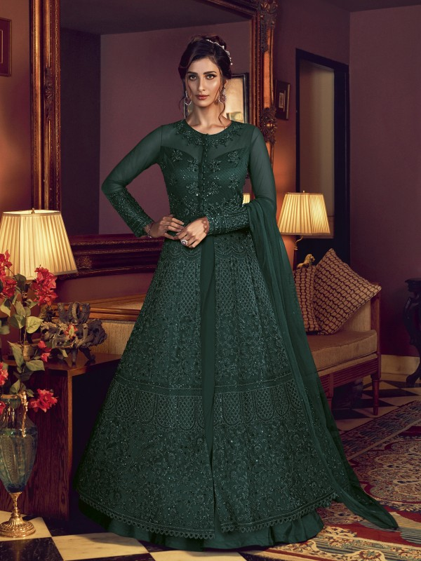 Soft Premium Net Wedding wear Gown in Dark Green Color with Embroidery