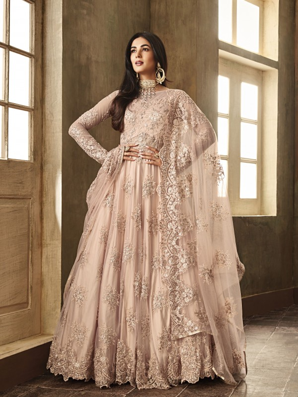 Soft Premium Net Party Wear Gown Peach With Zari With Stone Work