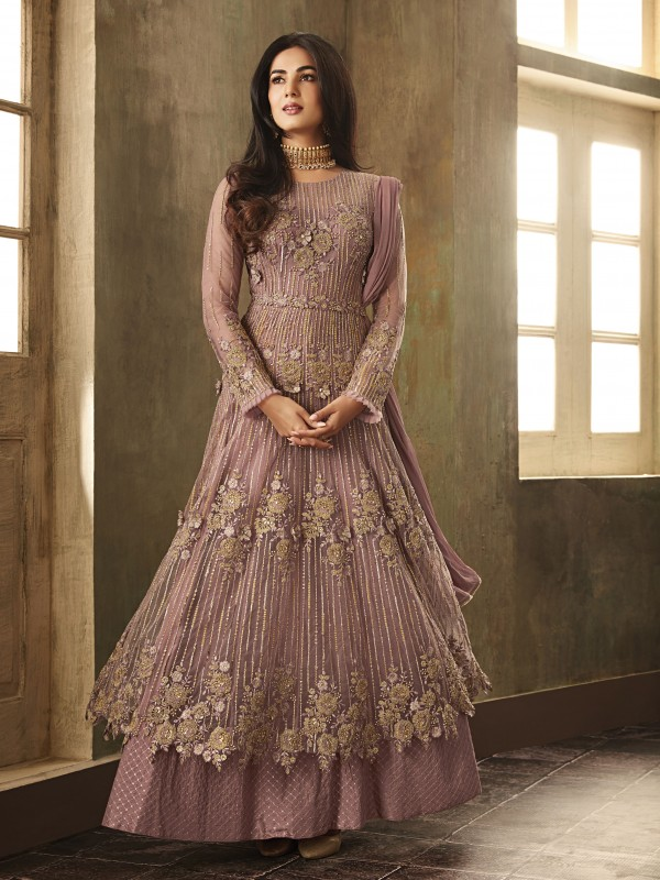 Soft Premium Net Party Wear Gown Pink And Majenta With Embroidery With Stone Work