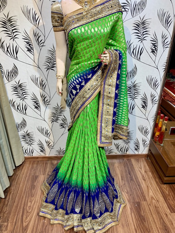 Pure Viscose Silk Wedding Wear Saree In Green With Crystals Stone Work