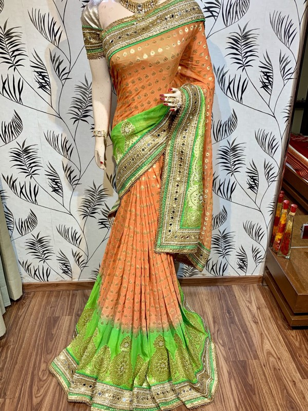 Pure Viscose Silk Wedding Wear Saree In Peach With Crystals Stone Work
