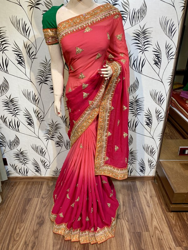 Pure Georgette Party Wear Saree In Rani WIth Embroidery Work & Crystal Stone work
