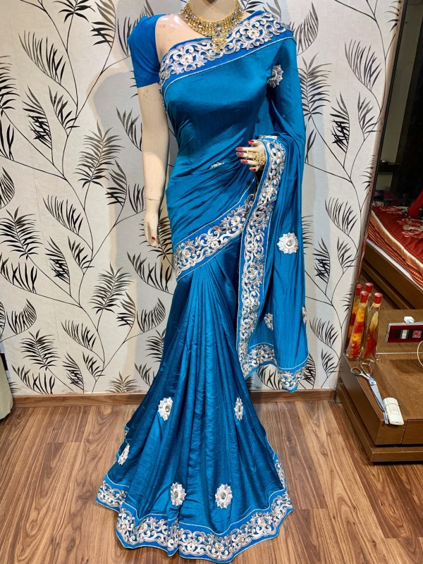 Silk Party Wear Saree In Blue WIth Embroidery Work & Crystal Stone work