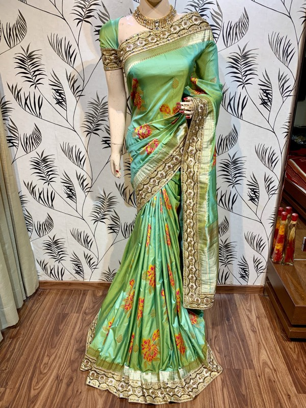 Banarasi Silk Party Wear Saree In Green WIth Embroidery Work & Crystal Stone work