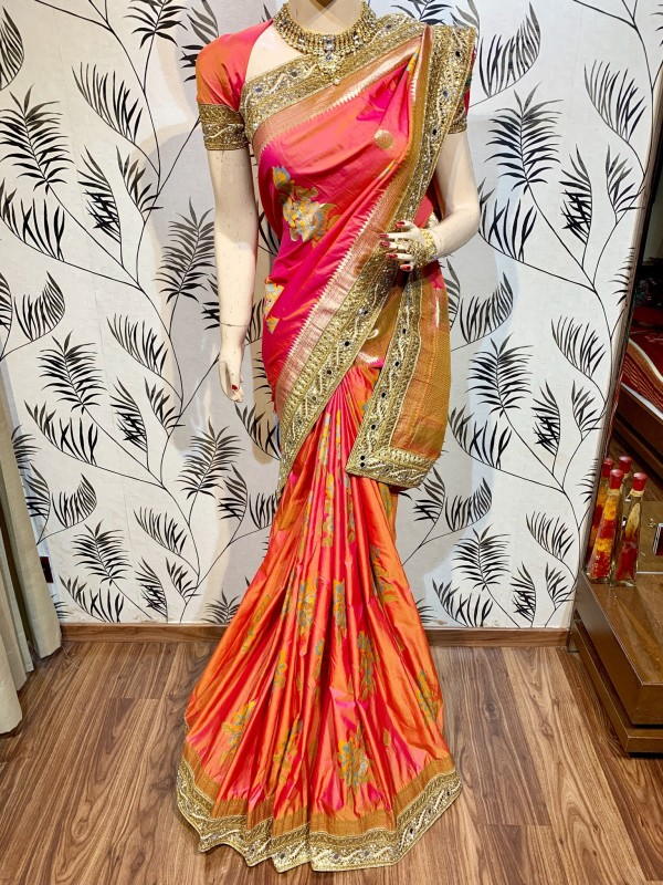 Banarasi Silk Party Wear Saree In Pink WIth Embroidery Work & Crystal Stone work