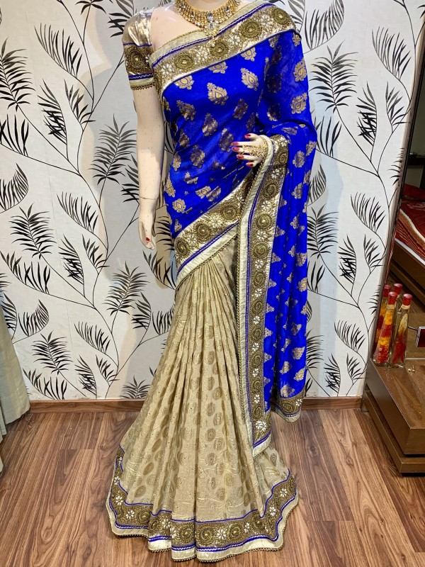 Viscose Silk Party Wear Saree In Blue WIth Embroidery Work & Crystal Stone work