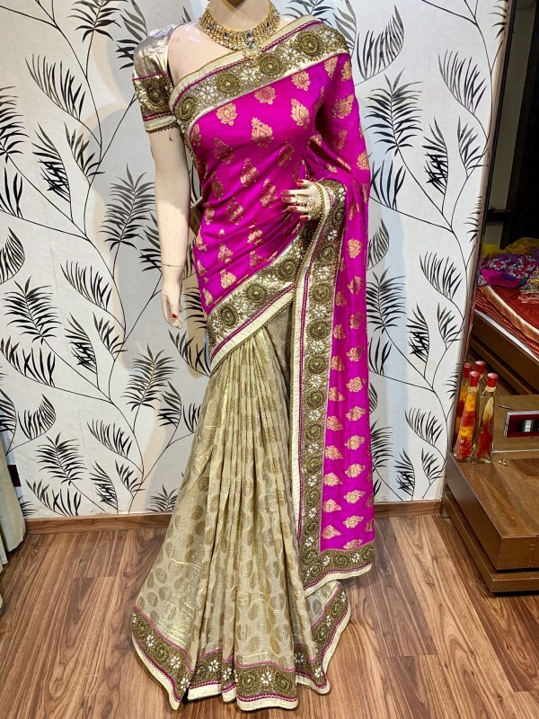 Viscose Silk Party Wear Saree In Pink WIth Embroidery Work & Crystal Stone work