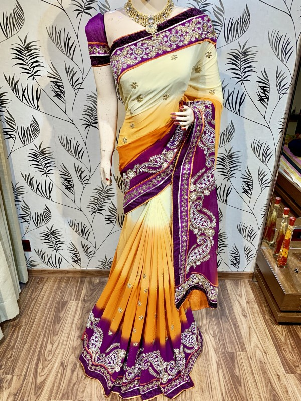Pure Bemberg Silk Party Wear Saree In Yellow WIth Embroidery Work & Crystal Stone work