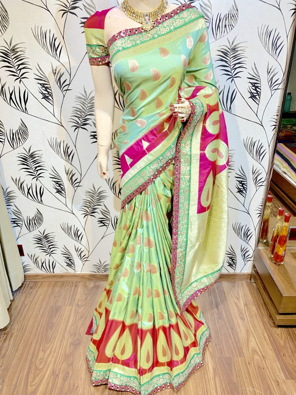Pure Banarasi Silk Party Wear Saree In Green WIth Sequence Work