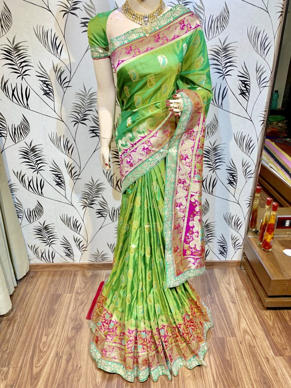 Pure Banarasi Silk Party Wear Saree In Green WIth Embroidery & Stone Work