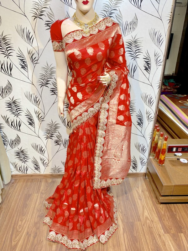 Pure Banarasi Silk Party Wear Saree In Red WIth Embroidery Work