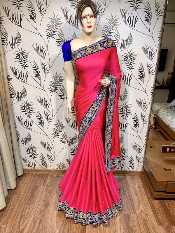 Model Silk Party Wear Saree In Pink WIth Embroidery Work & Crystal Stone work