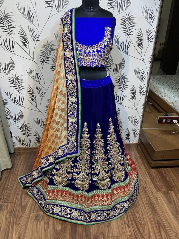 Pure Micro Velvet Wedding Lehenga In Blue With Handwork