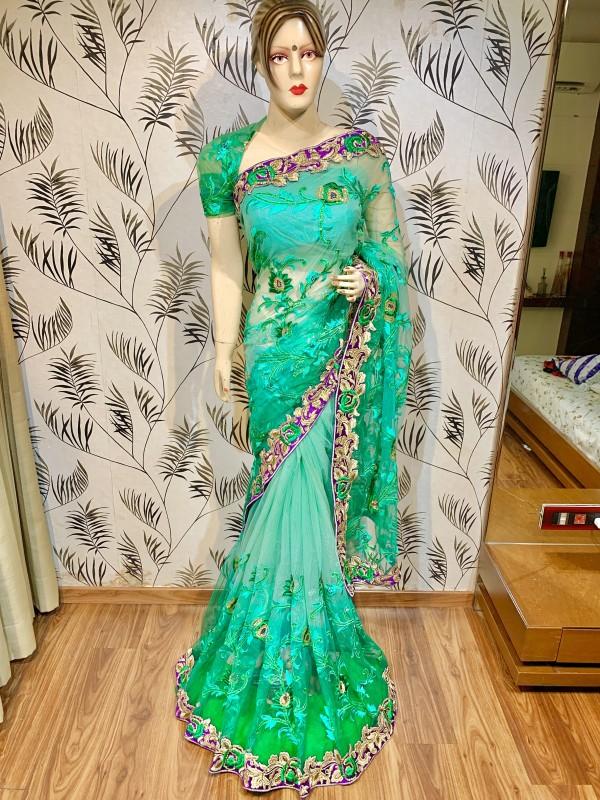 Soft Premium Wedding Wear Saree In Turquoise With Stone Work