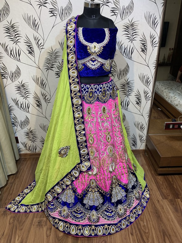 Soft Silk Party Wear Lehenga Saree In Pink & Green With Embroidery & Stone Work