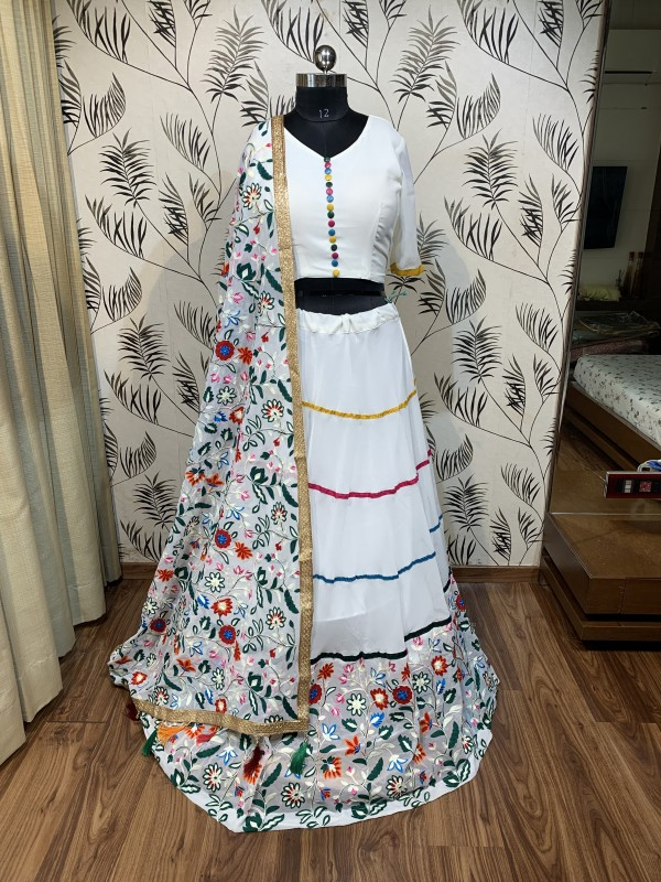 Georgette  Party Wear Lehenga In White With Embroidery  Work