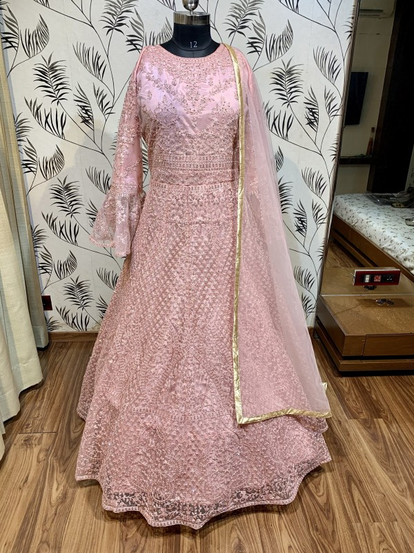 Soft Premium Net Wedding Wear Gown In Pink With Embroidery Work & Stone Work
