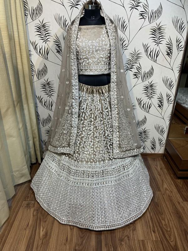 Soft Premium Net Wedding Wear Lehenga In Brown With Luckhnowi Work & Stone Work