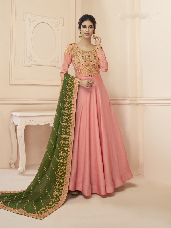 Lichi  Georgette Heavy Embroidery Gown in Light Pink Color