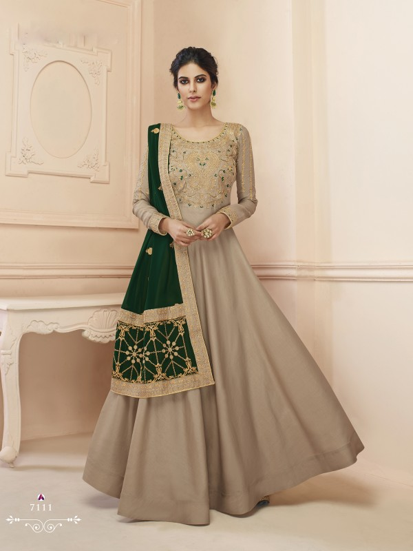 Lichi  Georgette Heavy Embroidery Gown in Beige Color