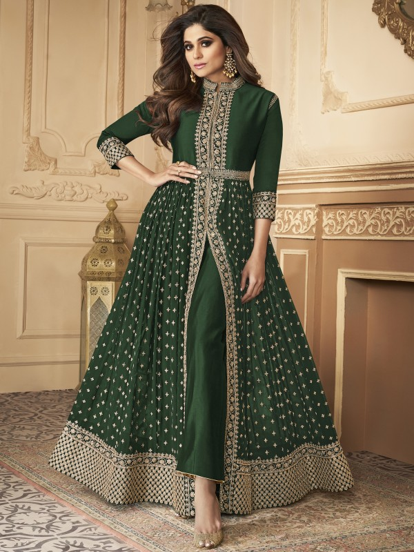 Georgette party Wear Anarkali Suit In Green With Embroidery Work