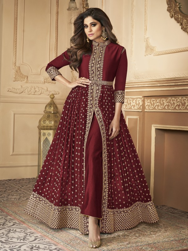 Georgette party Wear Anarkali Suit In Maroon With Embroidery Work