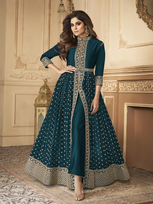 Georgette party Wear Anarkali Suit In Dark Turquoise  With Embroidery Work