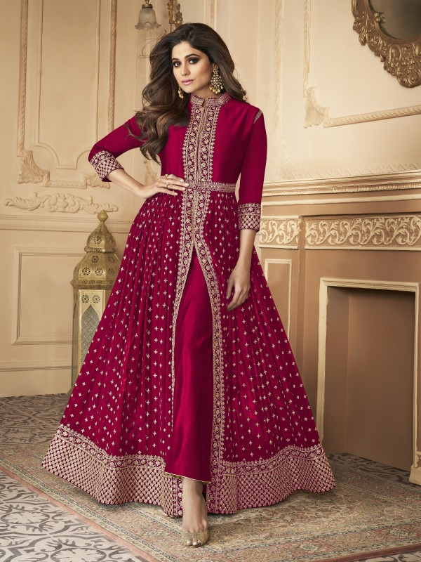 Georgette party Wear Anarkali Suit In Red  With Embroidery Work