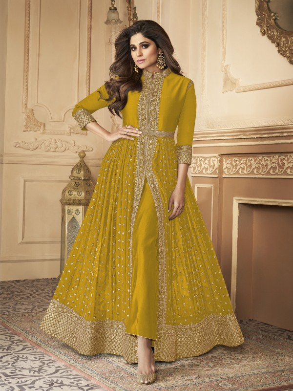 Georgette party Wear Anarkali Suit In Yellow  With Embroidery Work