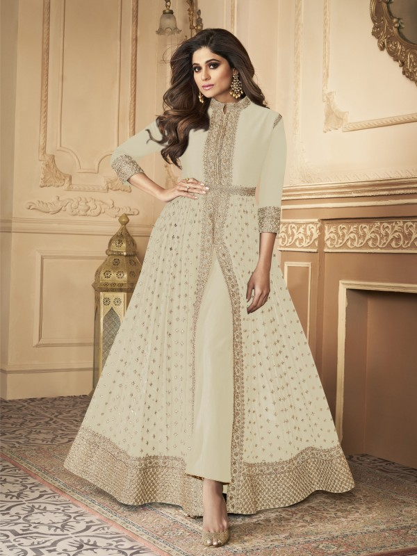 Georgette party Wear Anarkali Suit In White With Embroidery Work