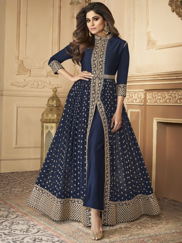 Georgette party Wear Anarkali Suit In Navy Blue With Embroidery Work