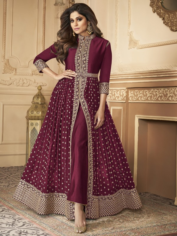 Georgette party Wear Anarkali Suit In Light Wine With Embroidery Work