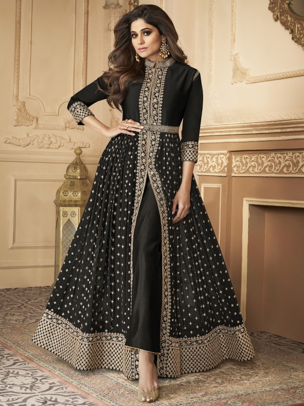 Georgette party Wear Anarkali Suit In Black With Embroidery Work