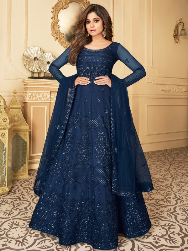 Butterfly net Fabrics Party Wear Gown In Blue Color With Embroidery Work
