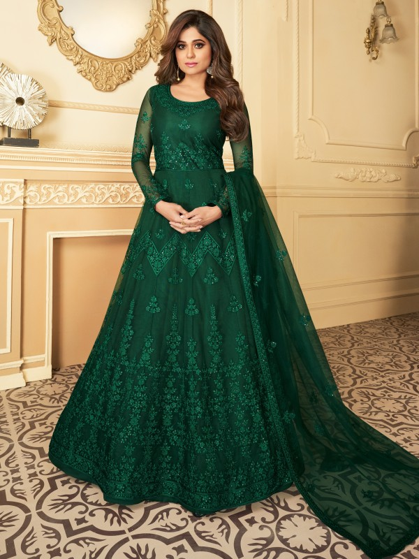 Butterfly net Fabrics Party Wear Gown In Green Color With Embroidery Work
