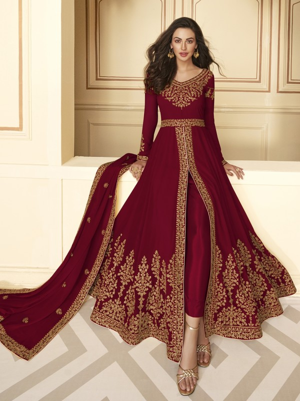 Pure Georgette Party Wear Anarkali Suit In Red With Embroidery Work