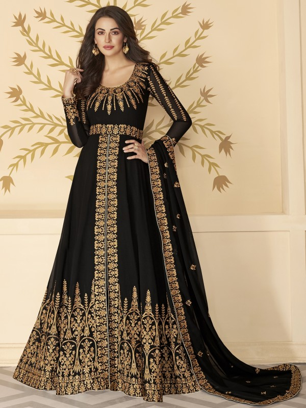 Pure Georgette Party Wear Anarkali Suit In Black With Embroidery Work