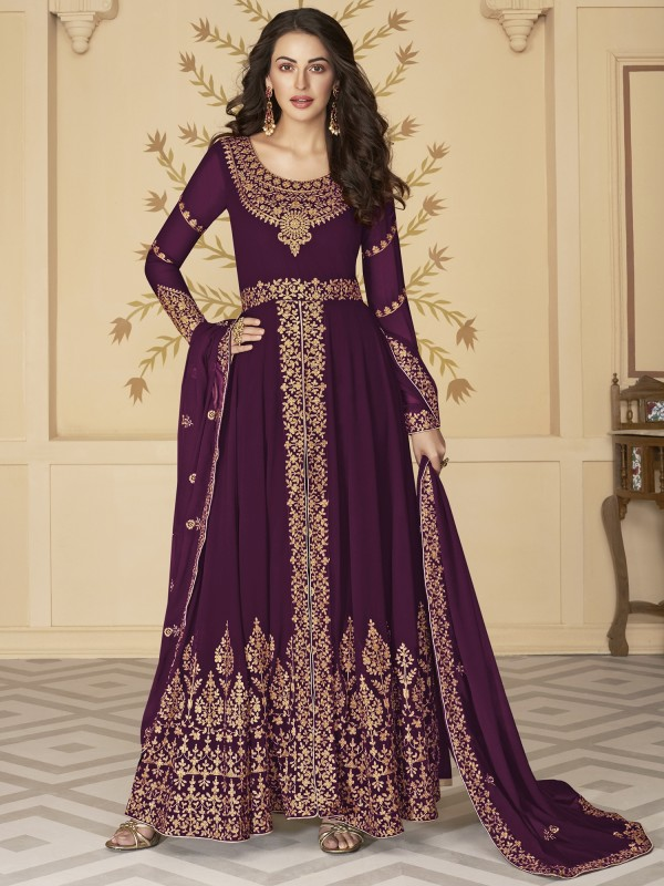 Pure Georgette Party Wear Anarkali Suit In Wine With Embroidery Work