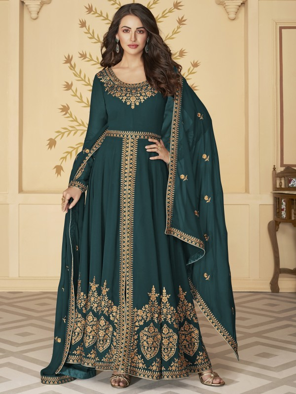 Pure Georgette Party Wear Anarkali Suit In Dark Turquoise With Embroidery Work