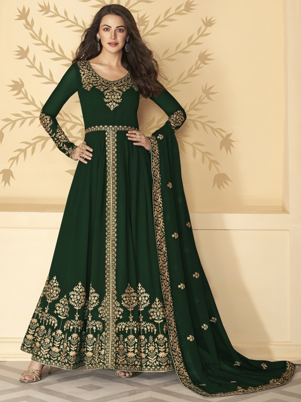 Pure Georgette Party Wear Anarkali Suit In Green Color With Embroidery Work