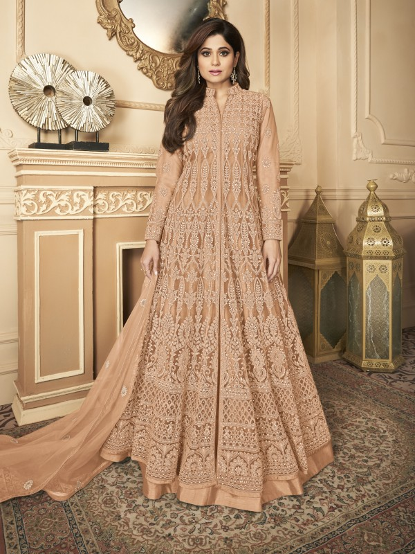 Butterfly net Fabrics Party Wear Gown In Peach Color With Embroidery Work