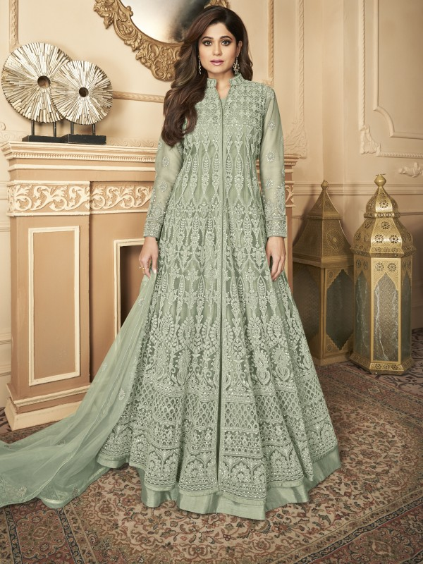 Butterfly net Fabrics Party Wear Gown In Light Grey Color With Embroidery Work